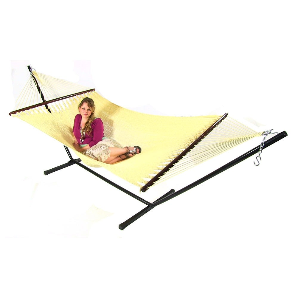 Medium image of sunnydaze large 2 person rope hammock with spreader bar  u0026 hammock stand   free shipping today   overstock     19512421