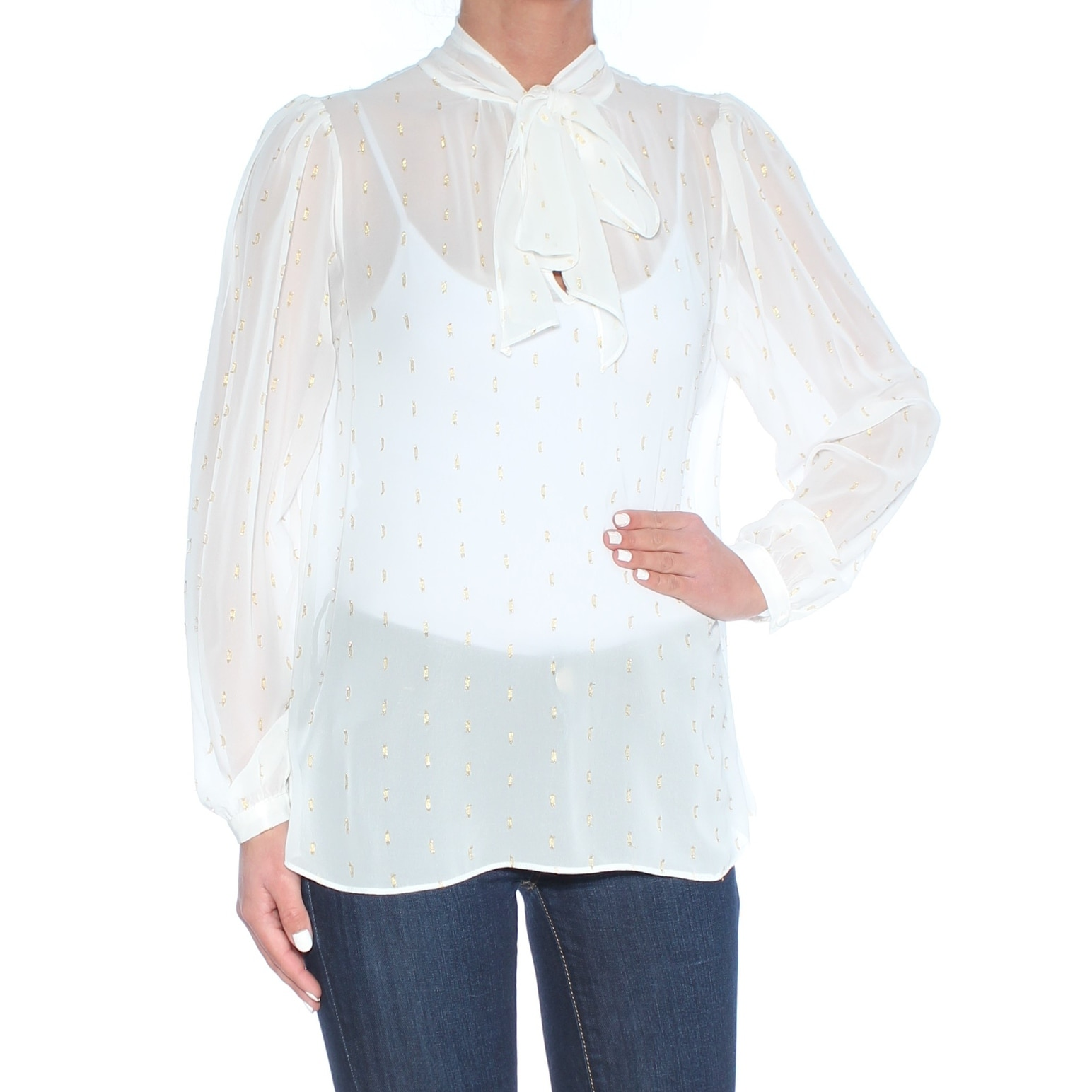 002c100b30e597 Shop CATHERINE MALANDRINO Womens Ivory Sheer Long Sleeve Tie Neck Long  Sleeve Blouse Wear To Work Top Size: S - Free Shipping On Orders Over $45 -  Overstock ...