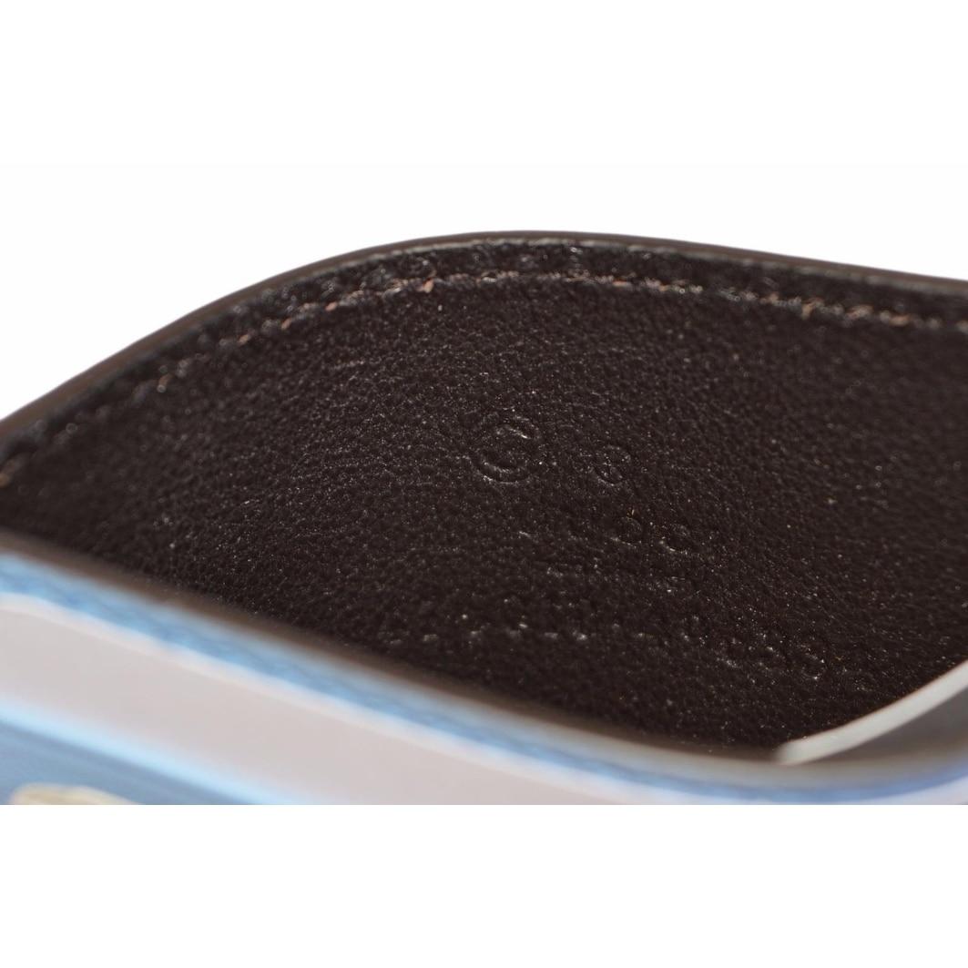 Gucci 476010 Mineral Blue Leather Micro GG Guccissima Small Card ...
