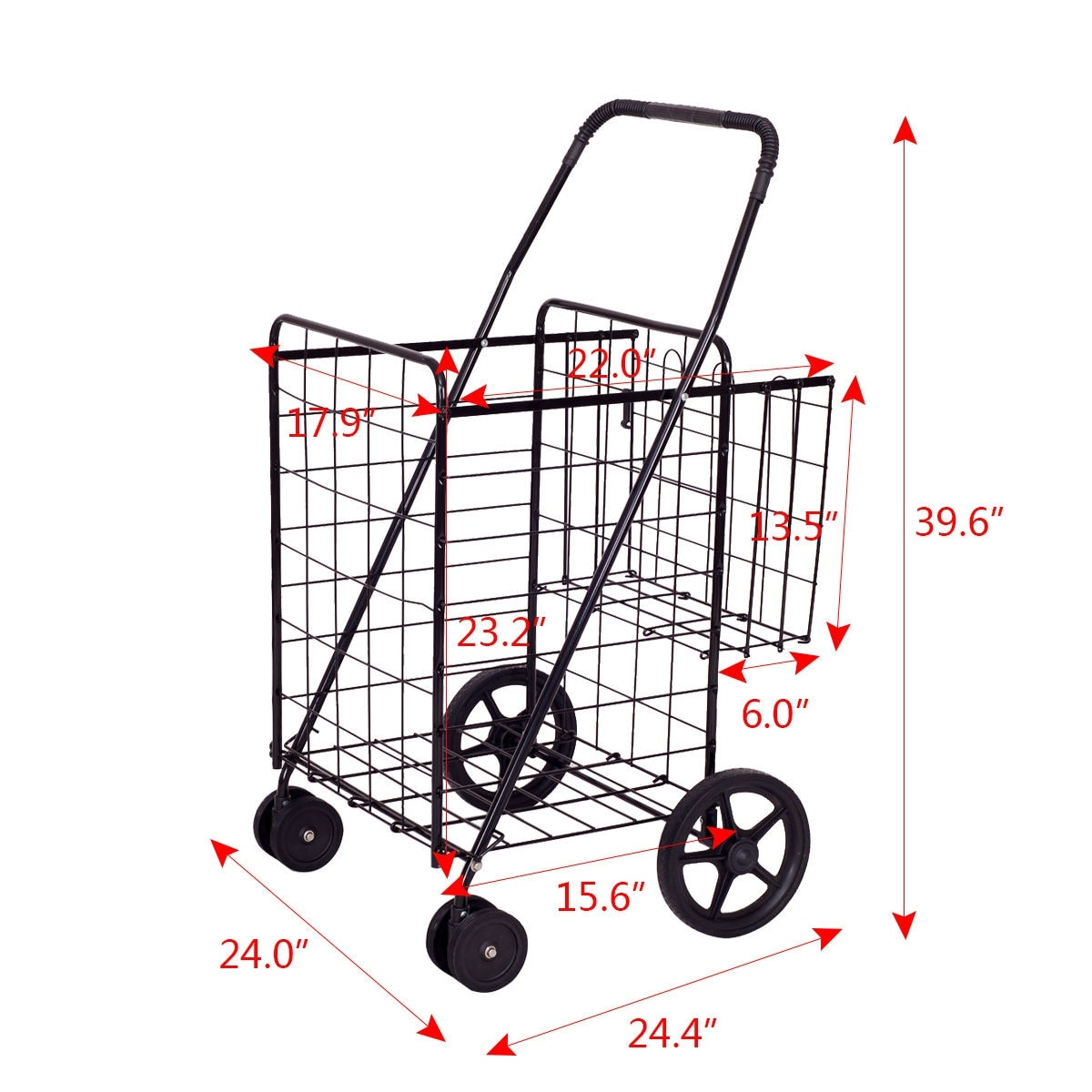 fb02e6dbccf17 Shop Costway Folding Shopping Cart Jumbo Basket Grocery Laundry Travel w/  Swivel Wheels - as pic - Free Shipping Today - Overstock - 16639878