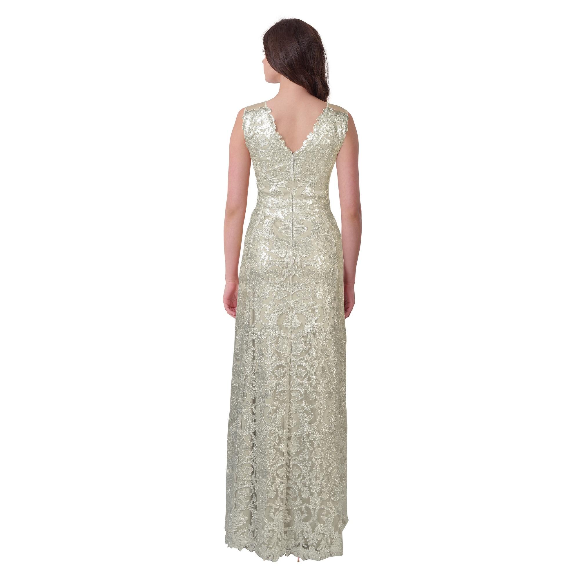 Shop Tadashi Shoji Metallic Embroidered Sequin V-Neck Evening Gown ...