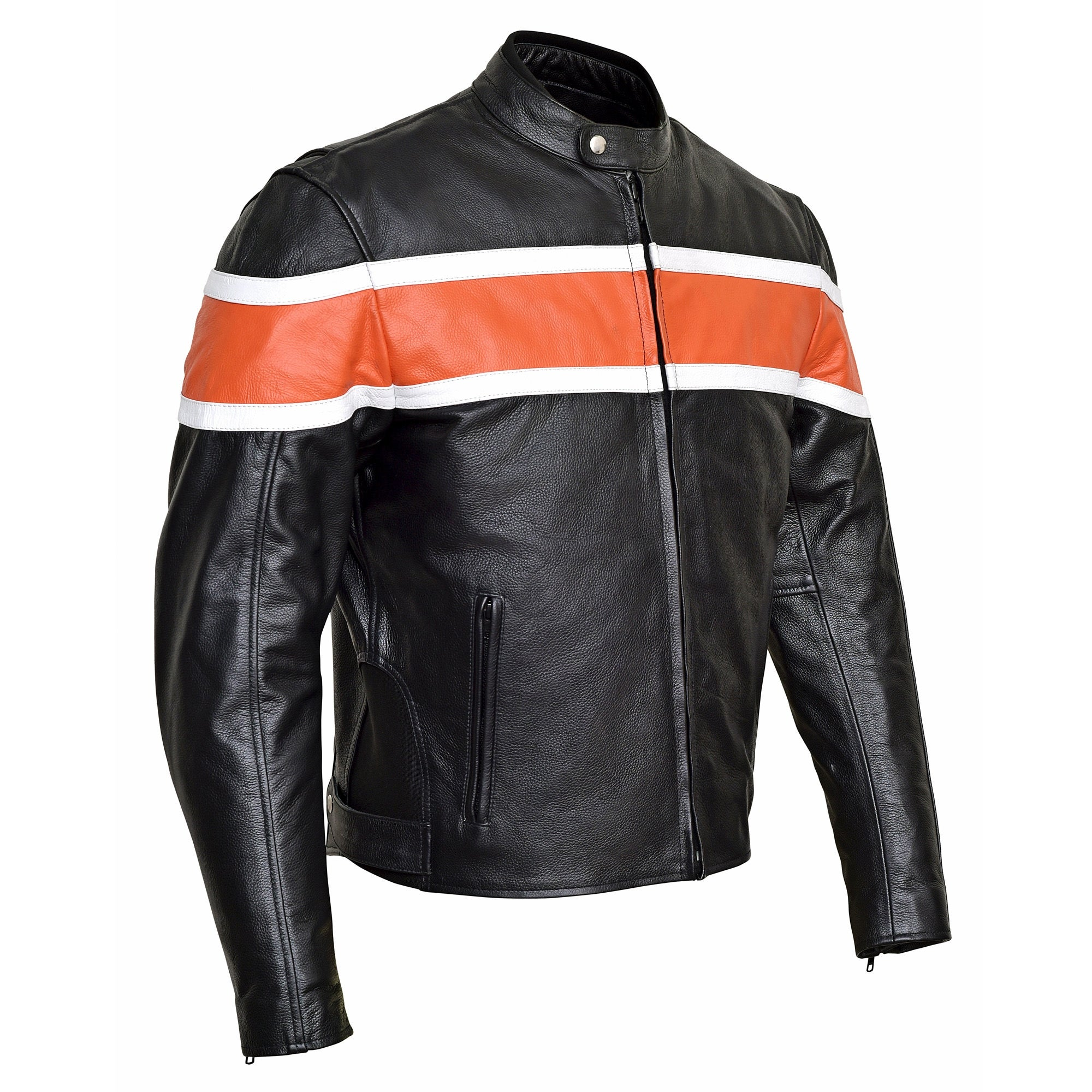 Men S Classic Leather Motorcycle Jacket Ce Body Armor Mbj001 Free Shipping Today Com 19448289