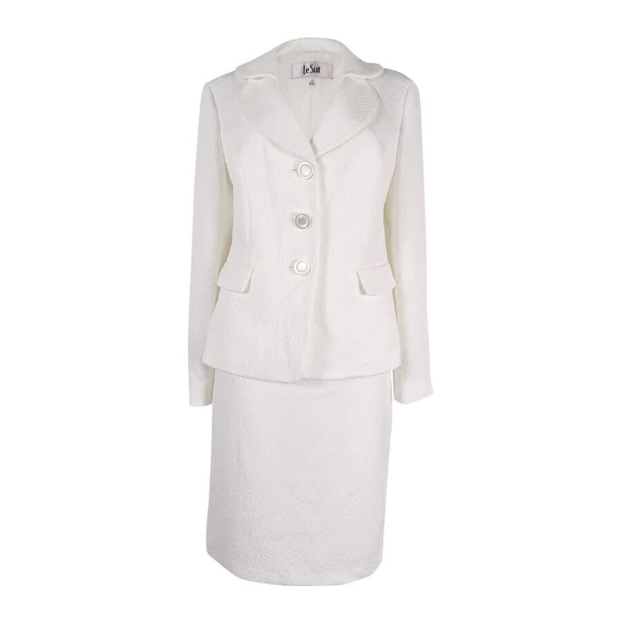 Shop Le Suit Women S St Augustine Layer Collar Jacquard Skirt Suit