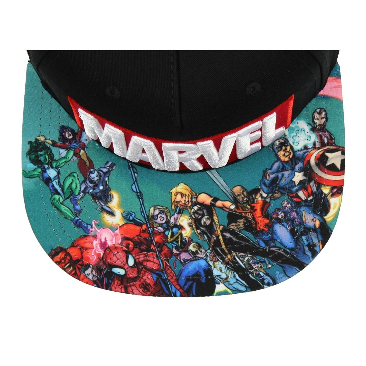 cff3f530f BIOWORLD Marvel Comics Logo And Sublimated Flatbill Hat Cap