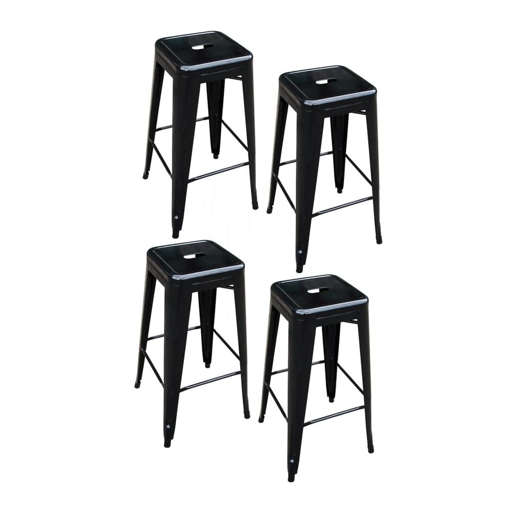 Cool Offex 4 Piece 30 Inch Metal Bar Stool Set Black Inzonedesignstudio Interior Chair Design Inzonedesignstudiocom