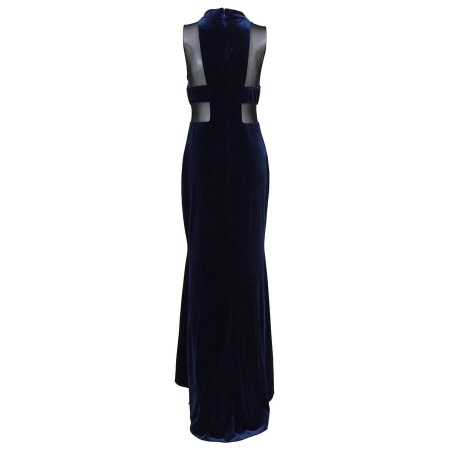 Shop Betsy & Adam Women\'s Velvet Illusion Gown - Navy/Black - On ...