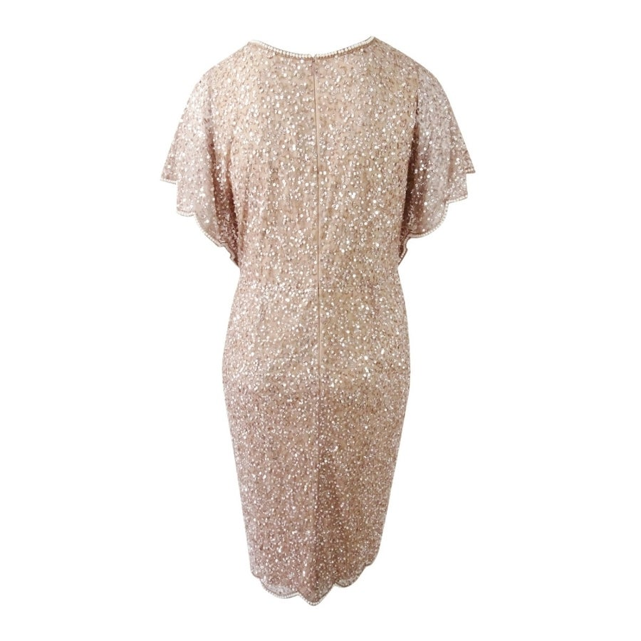 3039b08b745 Shop Adrianna Papell Women's Plus Size Beaded Flutter-Sleeve Dress (14W,  Rose Gold) - Rose Gold - 14W - Free Shipping Today - Overstock - 25459946