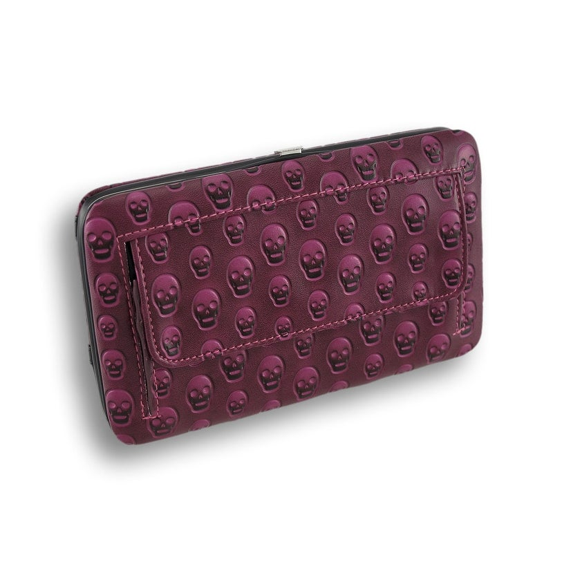 Embossed Skull Studded Flat Wallet with Glossy Patent Vinyl Trim