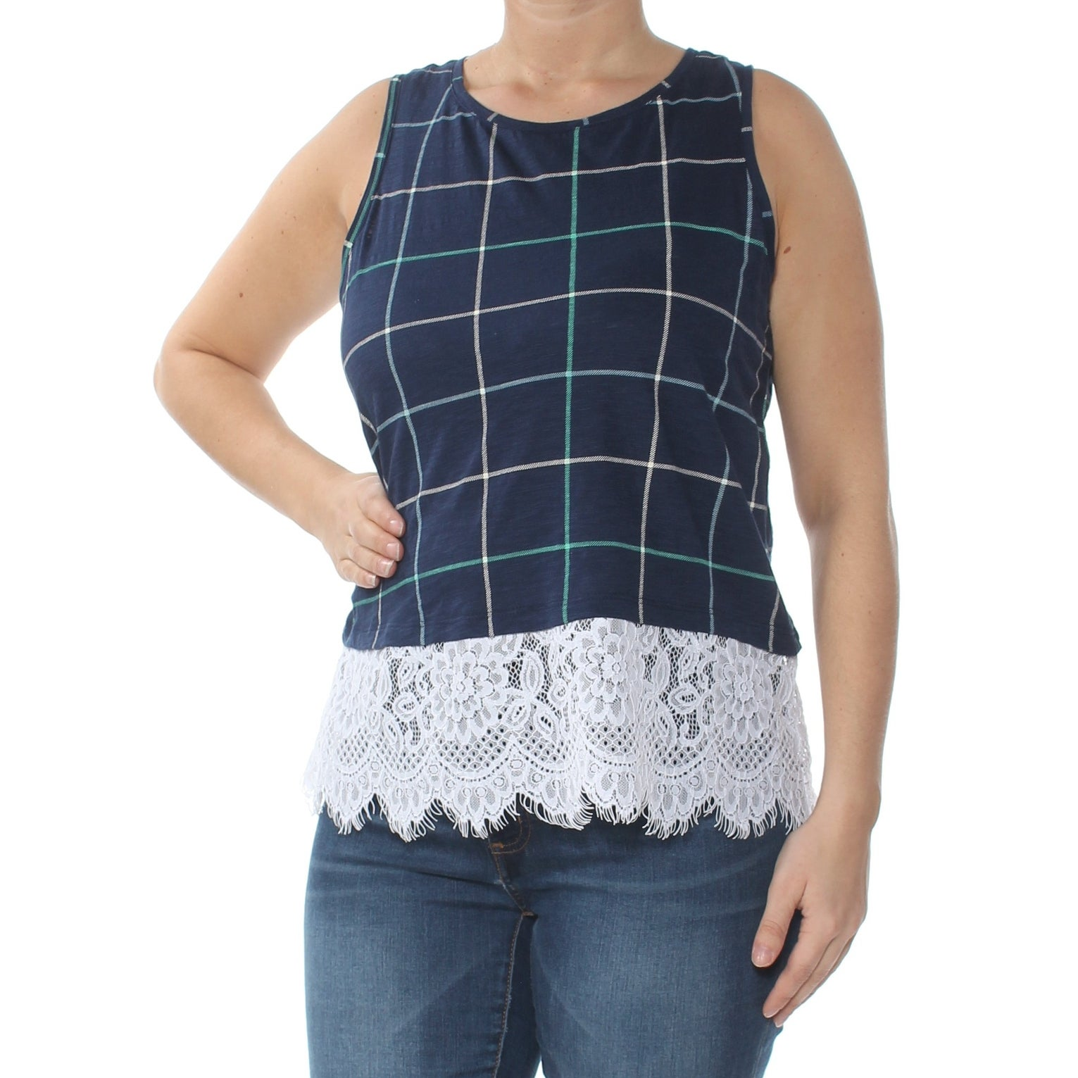 6f44e02fa332 Shop MAISON JULES Womens Navy Lace Trim Tank Printed Sleeveless Jewel Neck  Top Size: M - On Sale - Free Shipping On Orders Over $45 - Overstock -  27795606