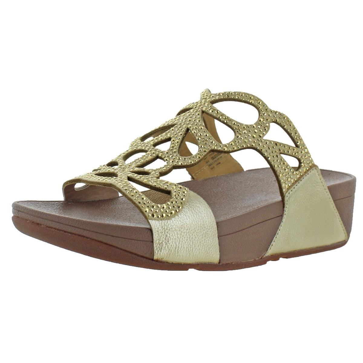 e698f4ea0cb Fitflop Womens Bumble Crystal Slide Slide Sandals Leather Slip On - 6  Medium (B