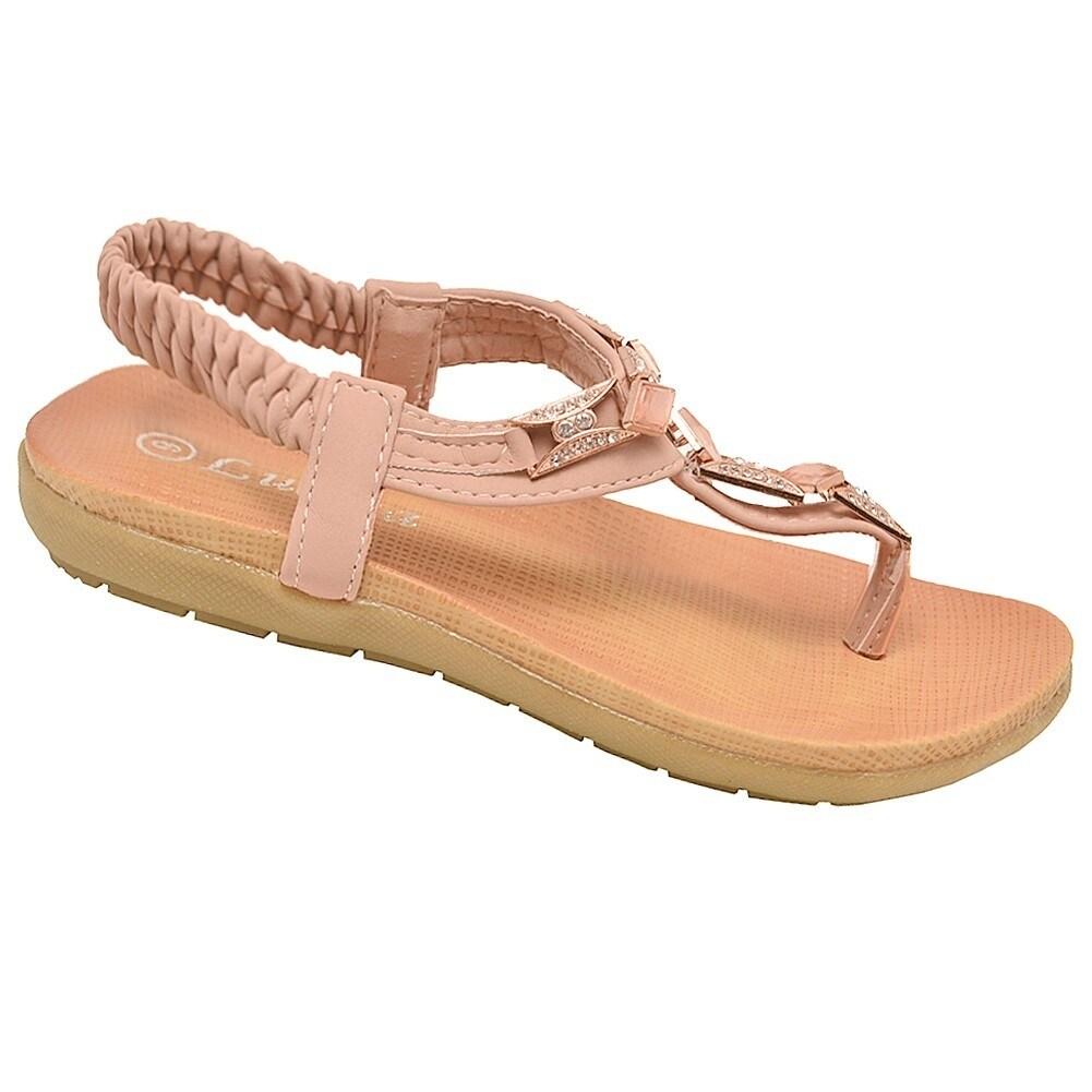 4ca2b92a9a9bd Shop Lucita Little Girls Beige Glitter Rhinestone Flip Flop Sandals - Free  Shipping On Orders Over  45 - Overstock.com - 23090903