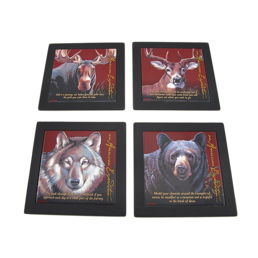 Set of 4 wildlife wood framed ceramic tile trivets or wall hangings set of 4 wildlife wood framed ceramic tile trivets or wall hangings free shipping on orders over 45 overstock 23062932 dailygadgetfo Choice Image
