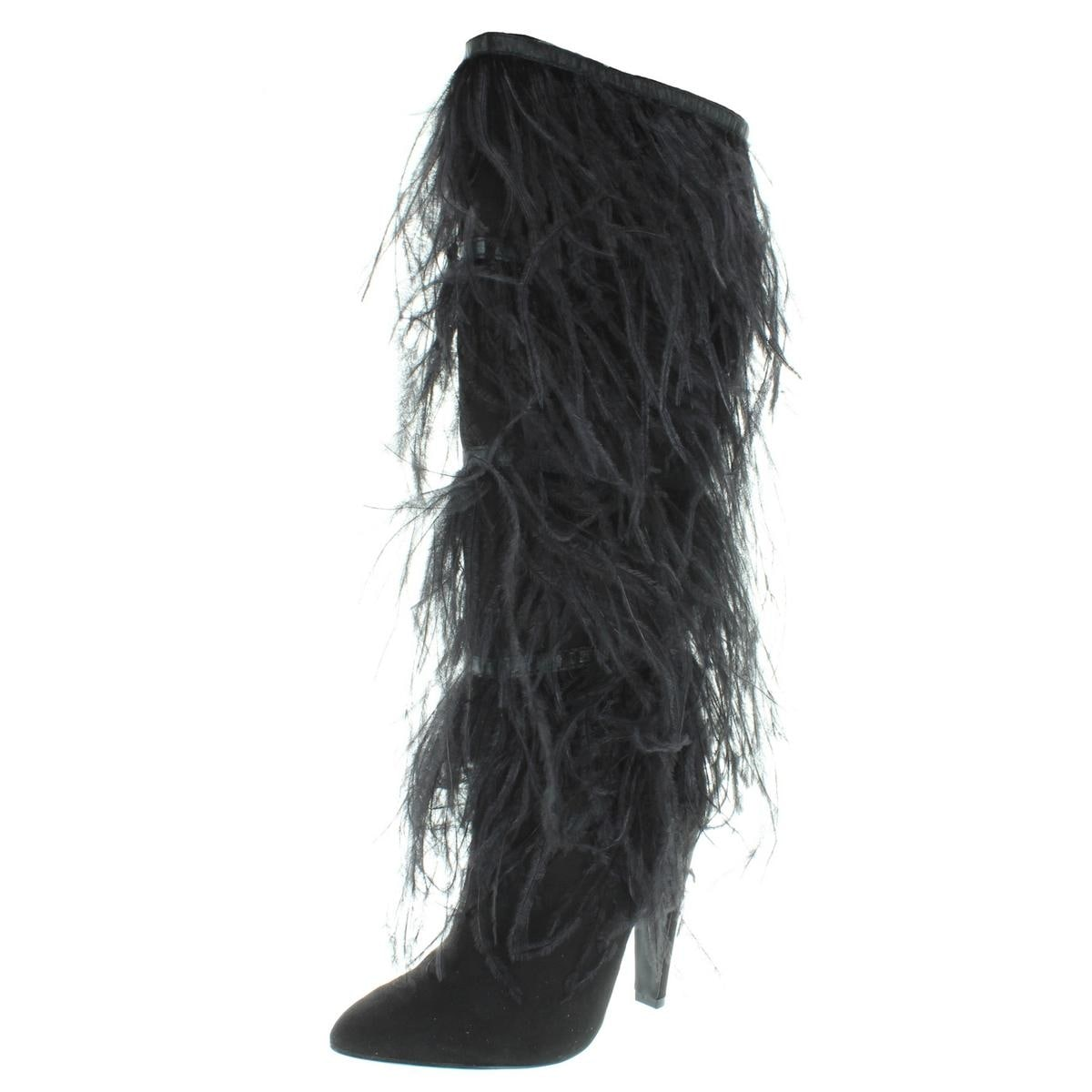 a10e9fe7720 Shop Steve Madden Womens Alesandra Dress Boots Feathers Knee-High ...
