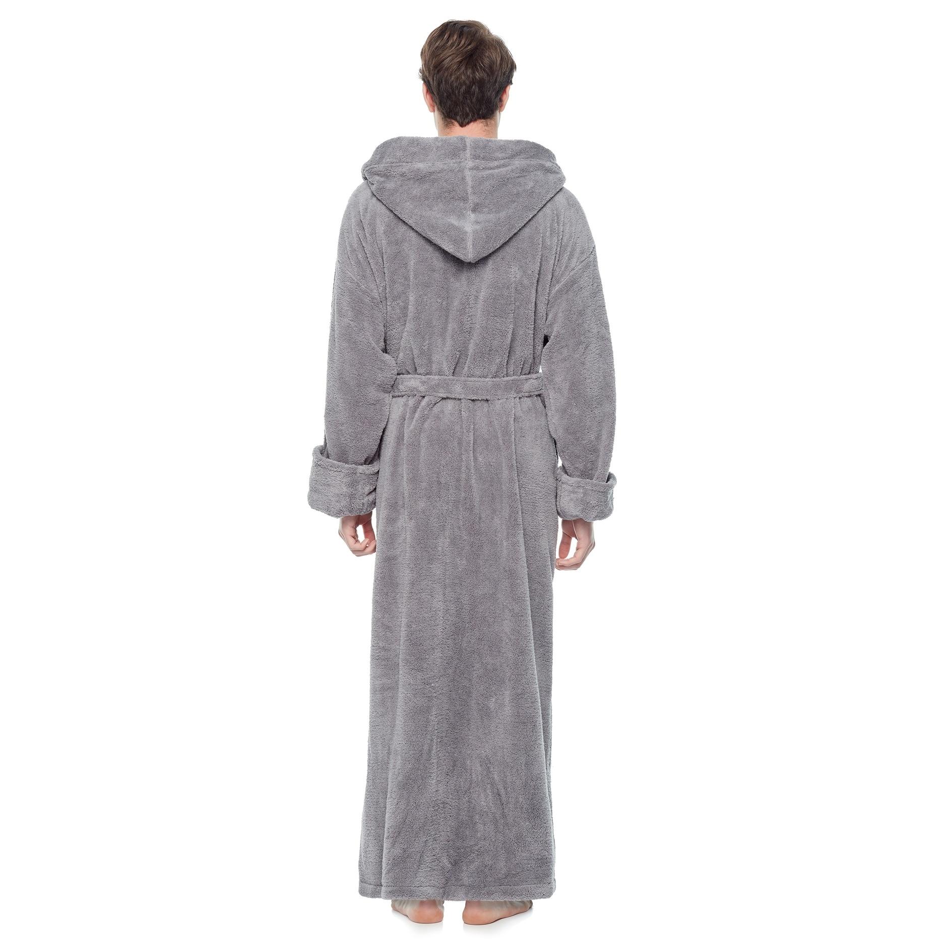 Men S Hooded Fleece Bathrobe Turkish Soft Plush Robe With Full Length Options Overstock 14387064