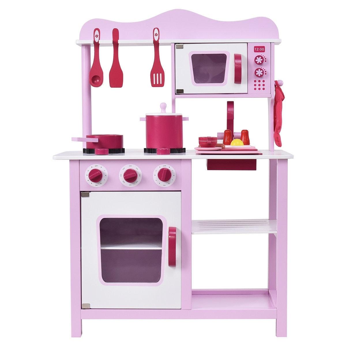 Costway Wooden Kitchen Toy Playset Kids Children Cooking Pretend ...