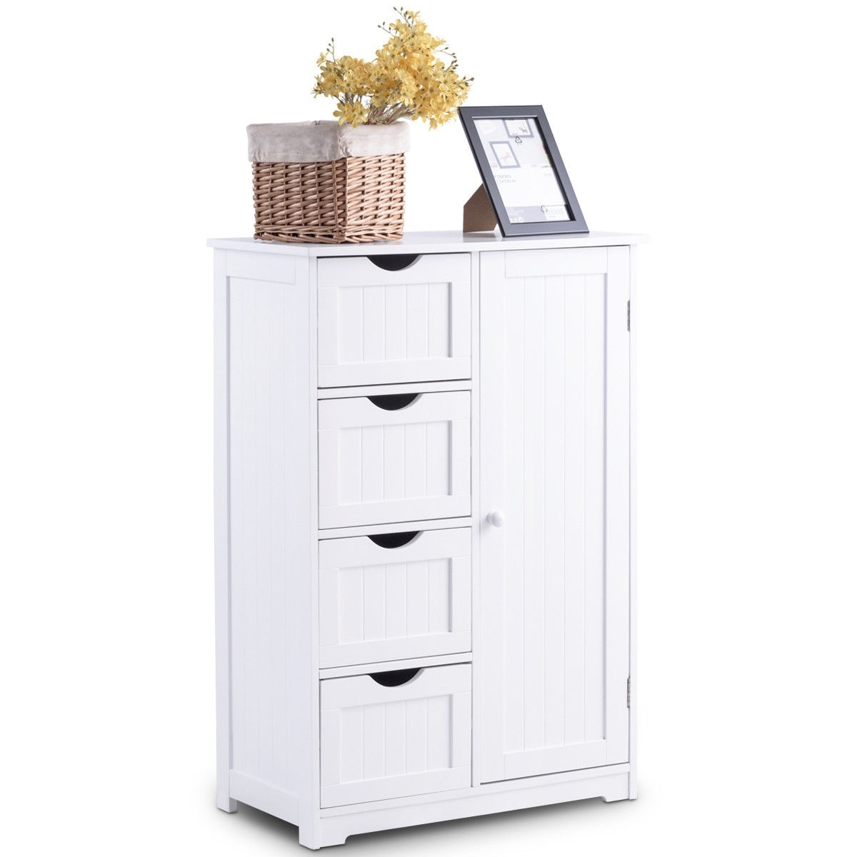 Shop Costway Wooden 4 Drawer Bathroom Cabinet Storage Cupboard 2 Shelves Free Standing White - Free Shipping Today - Overstock.com - 19817490