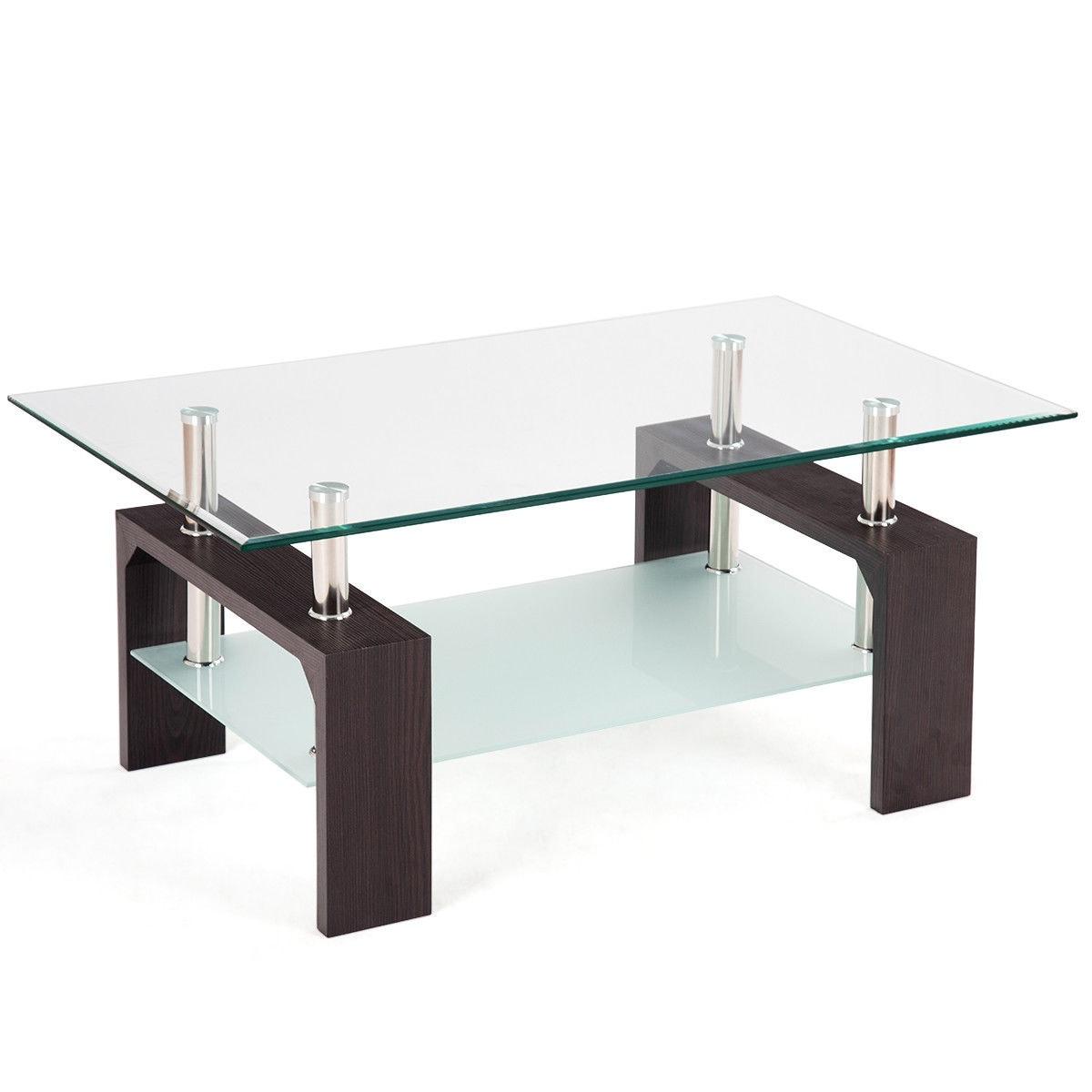 Shop Costway Rectangular Tempered Glass Coffee Table w/Shelf Wood ...