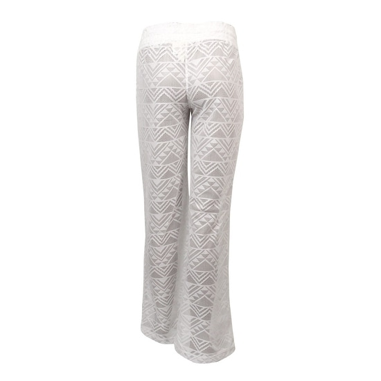 12ff179907 Shop Miken Women's Crochet Lace Drawstrings Swim Pants Cover Up (S, White)  - White - S - Free Shipping On Orders Over $45 - Overstock - 15876670