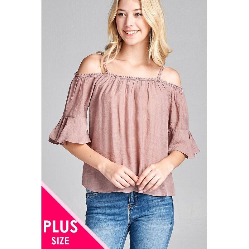 0ee0c9d256cfd Ladies Fashion Plus Size Short Sleeve Open Shoulder W Lace Trim Sub Gauze  Woven Top - Size - 3Xl
