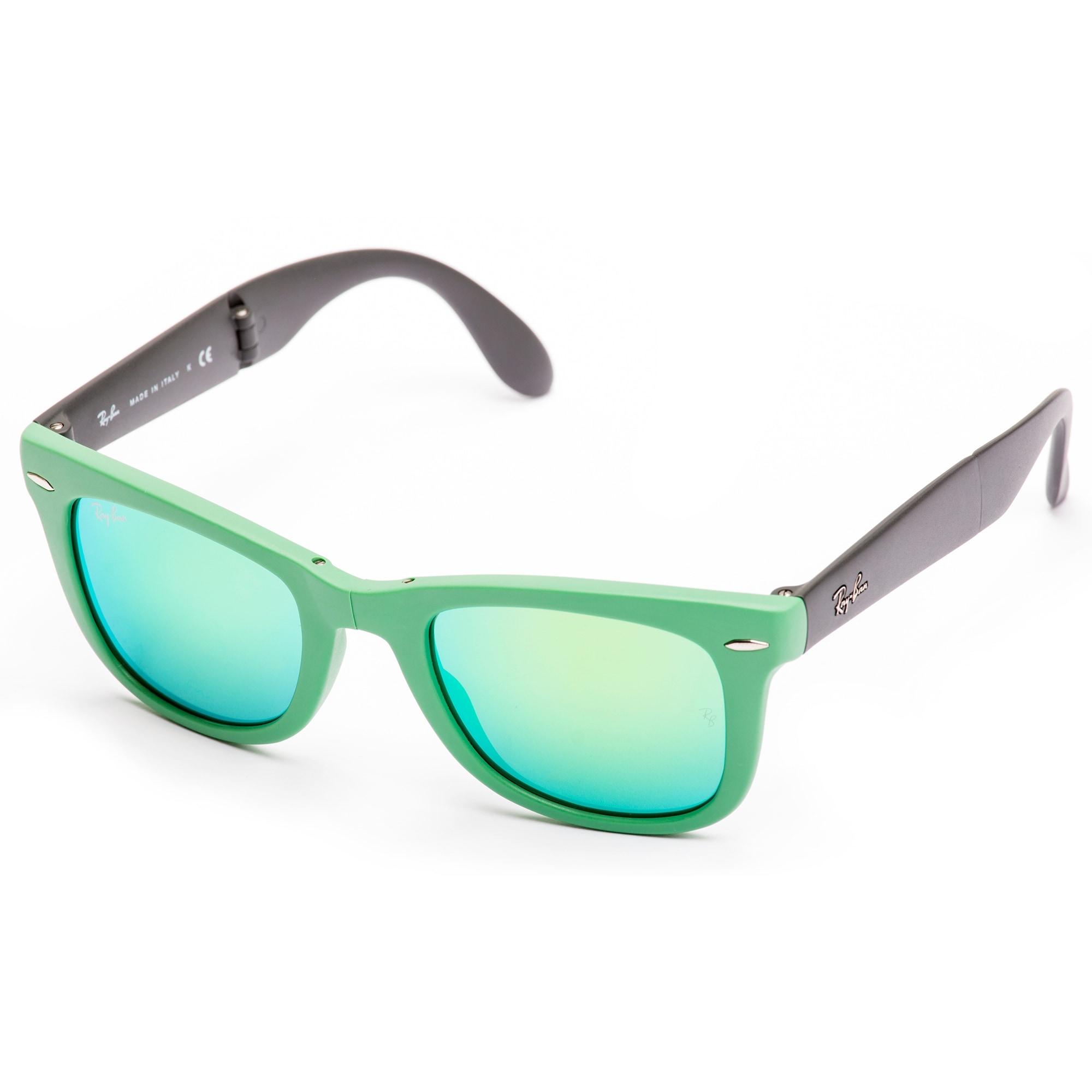 e6425d4bfd474 ... ebay shop ray ban folding wayfarer sunglasses green green flash free  shipping today overstock 19458380 cd923