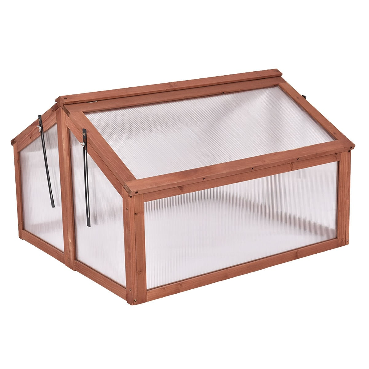 Shop Costway Double Box Garden Wooden Green House Cold Frame Raised ...