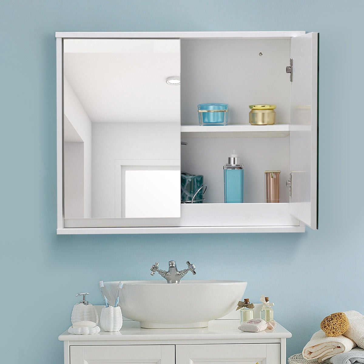 Shop Costway Wall Mounted Bathroom Storage Cabinet Double Mirror ...