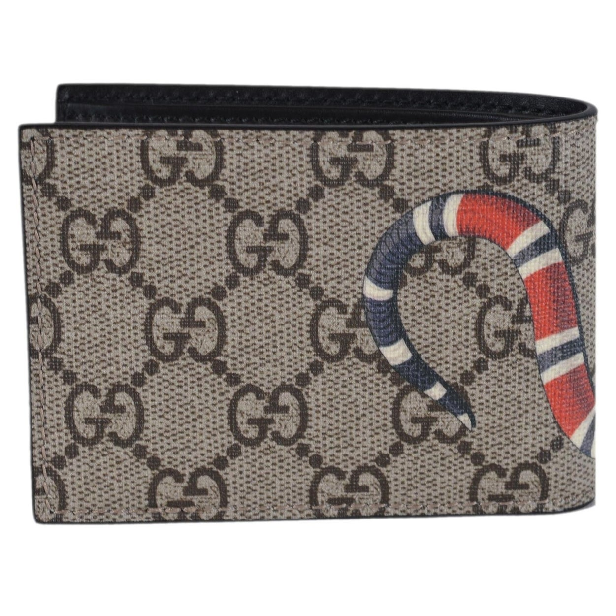 f12b369b98c Shop Gucci Men s Beige GG Supreme Canvas King Snake Small Bifold Wallet -  Free Shipping Today - Overstock - 26433430