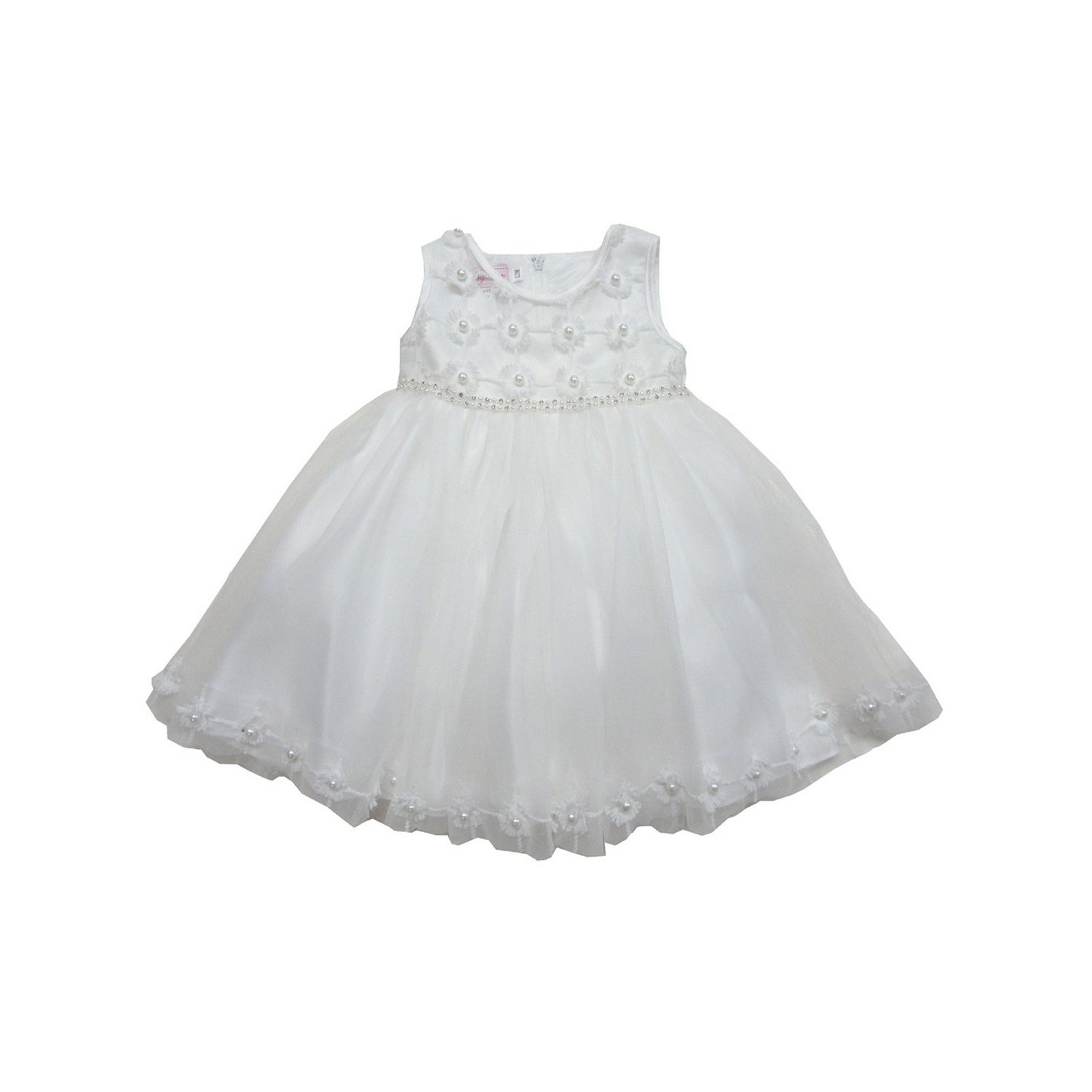 Little Girls Off White Floral Pearl Organza Embroidered Flower Girl