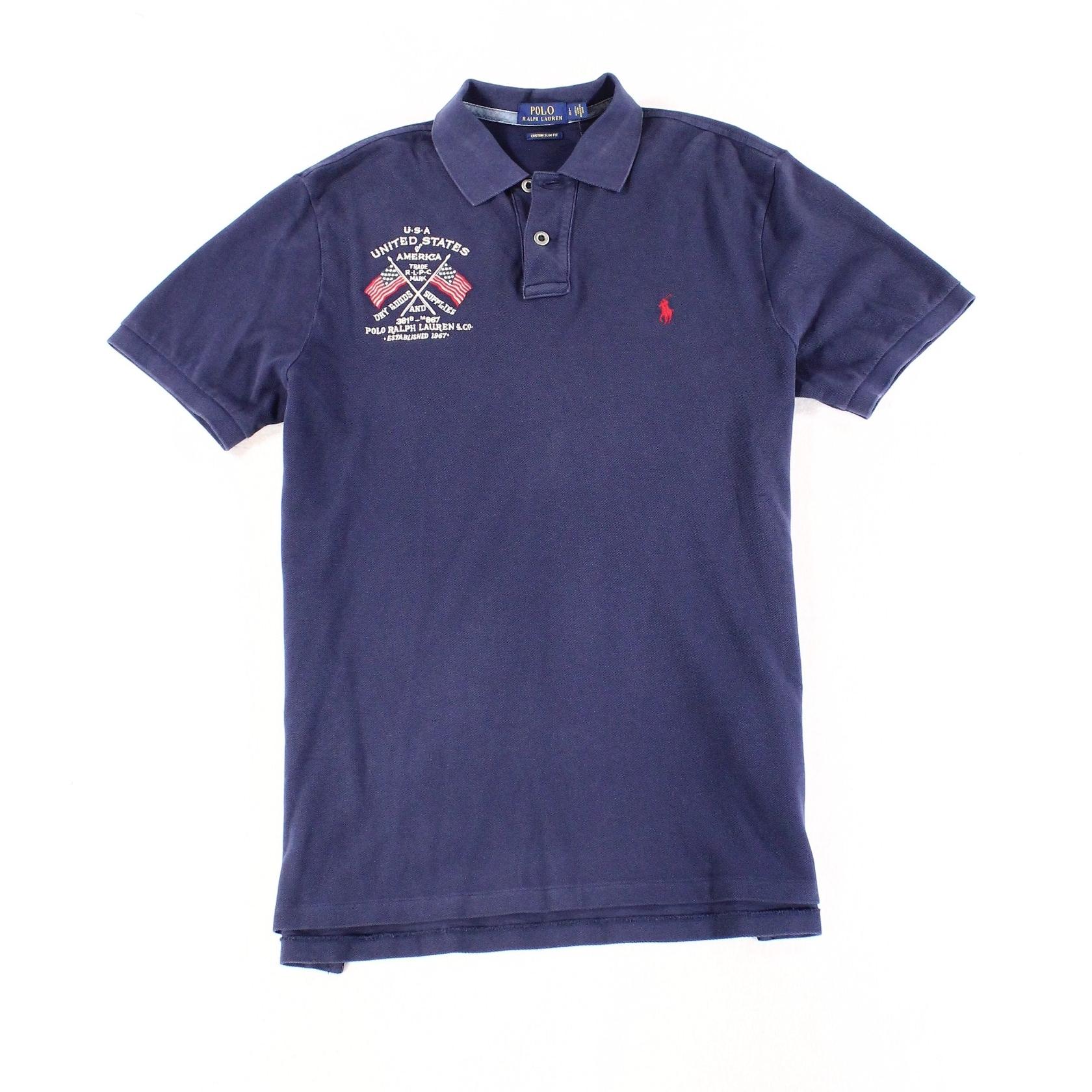 Slim Mens Custom Fit Lauren Polo Ralph Shirt L Blue Large 435jLAR