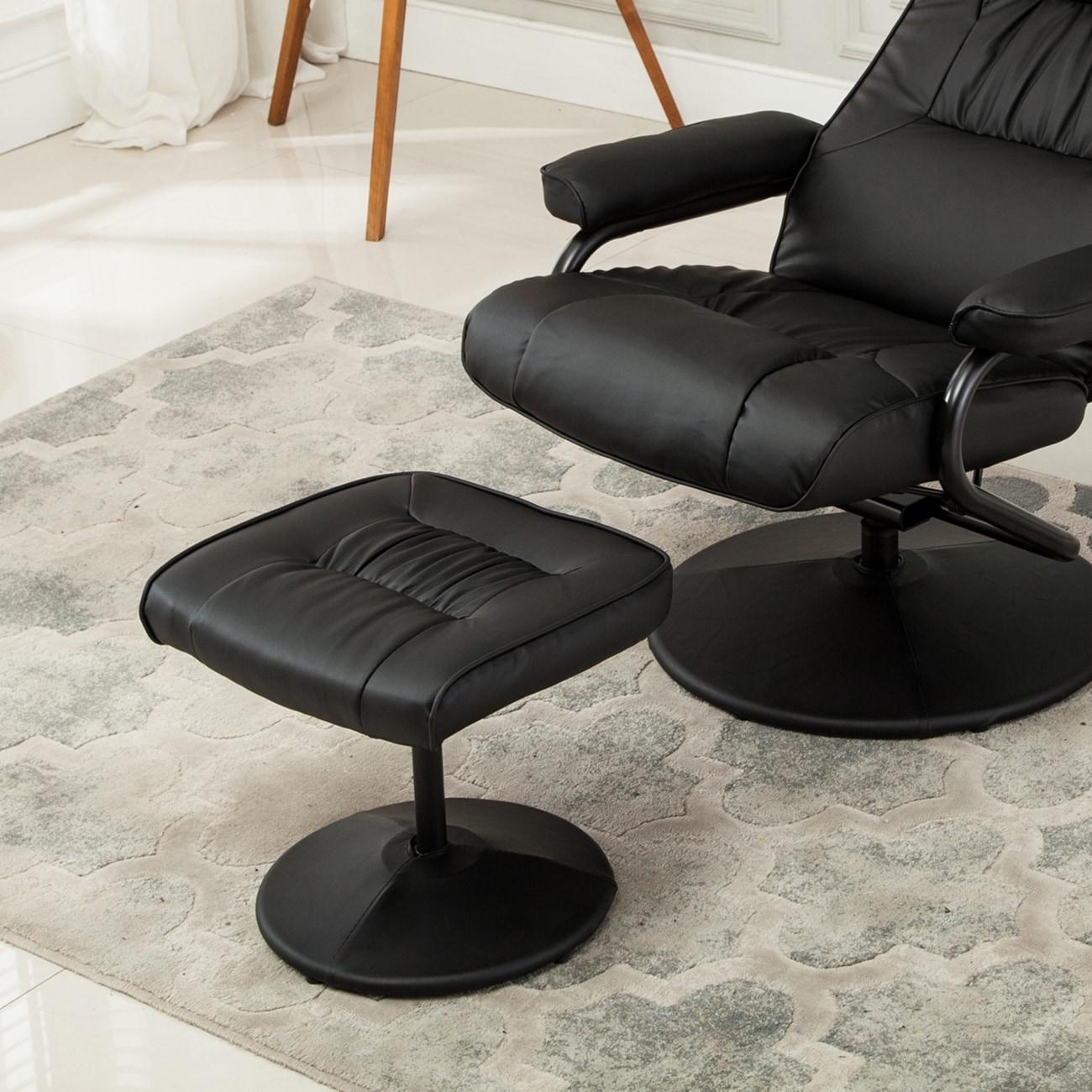 shop belleze modern contemporary black bonded leather soft recliner