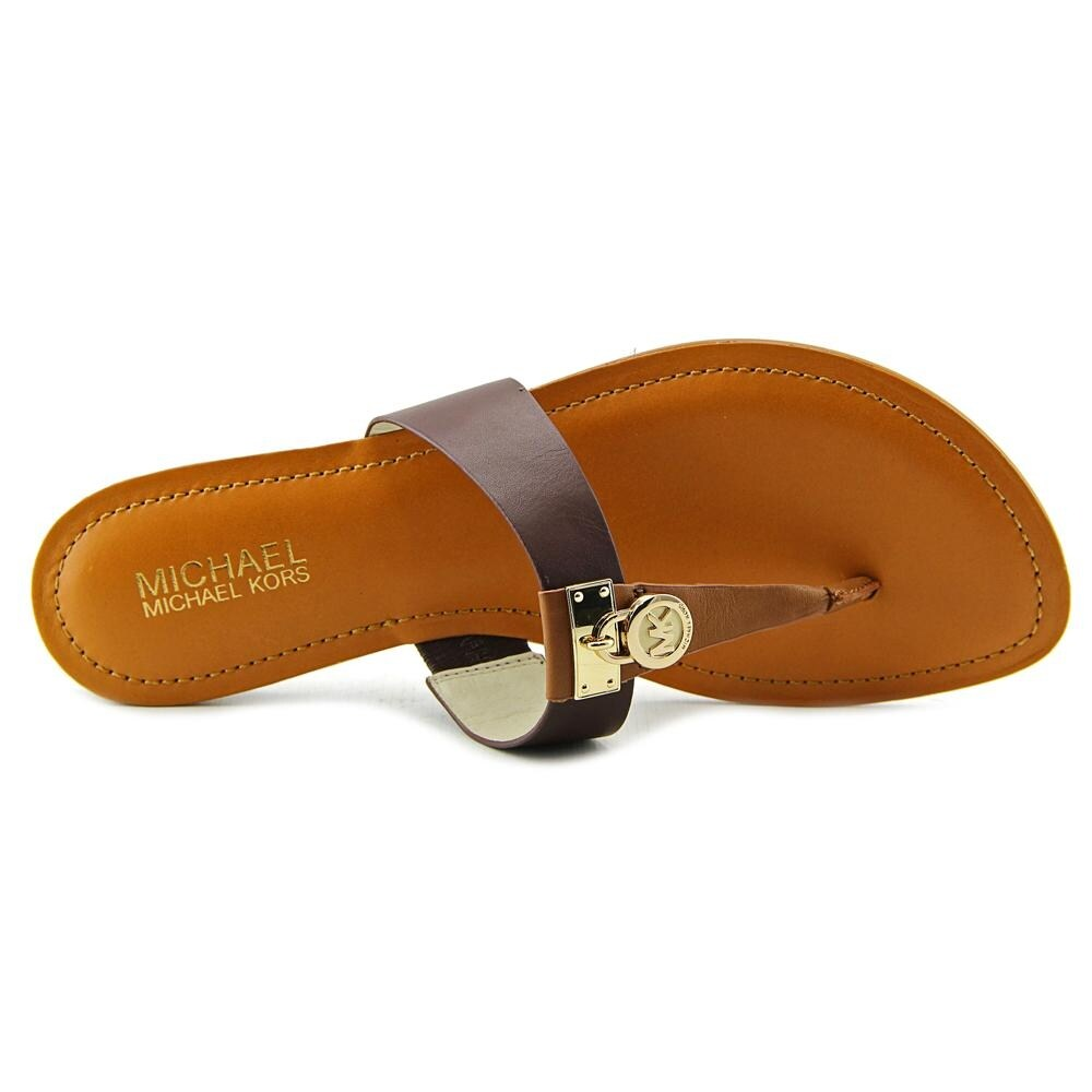 bc9f08da7d9 Shop Michael Michael Kors Hamilton Flat Women Open Toe Leather Brown Thong  Sandal - Free Shipping On Orders Over  45 - Overstock - 14454032