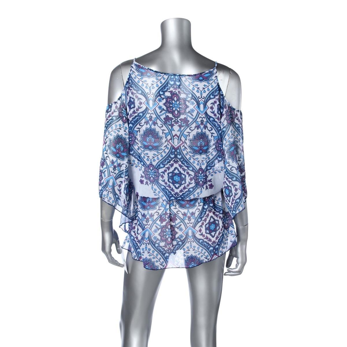 Becca Womens Printed Open Shoulder Dress Swim Cover-Up - Free ...