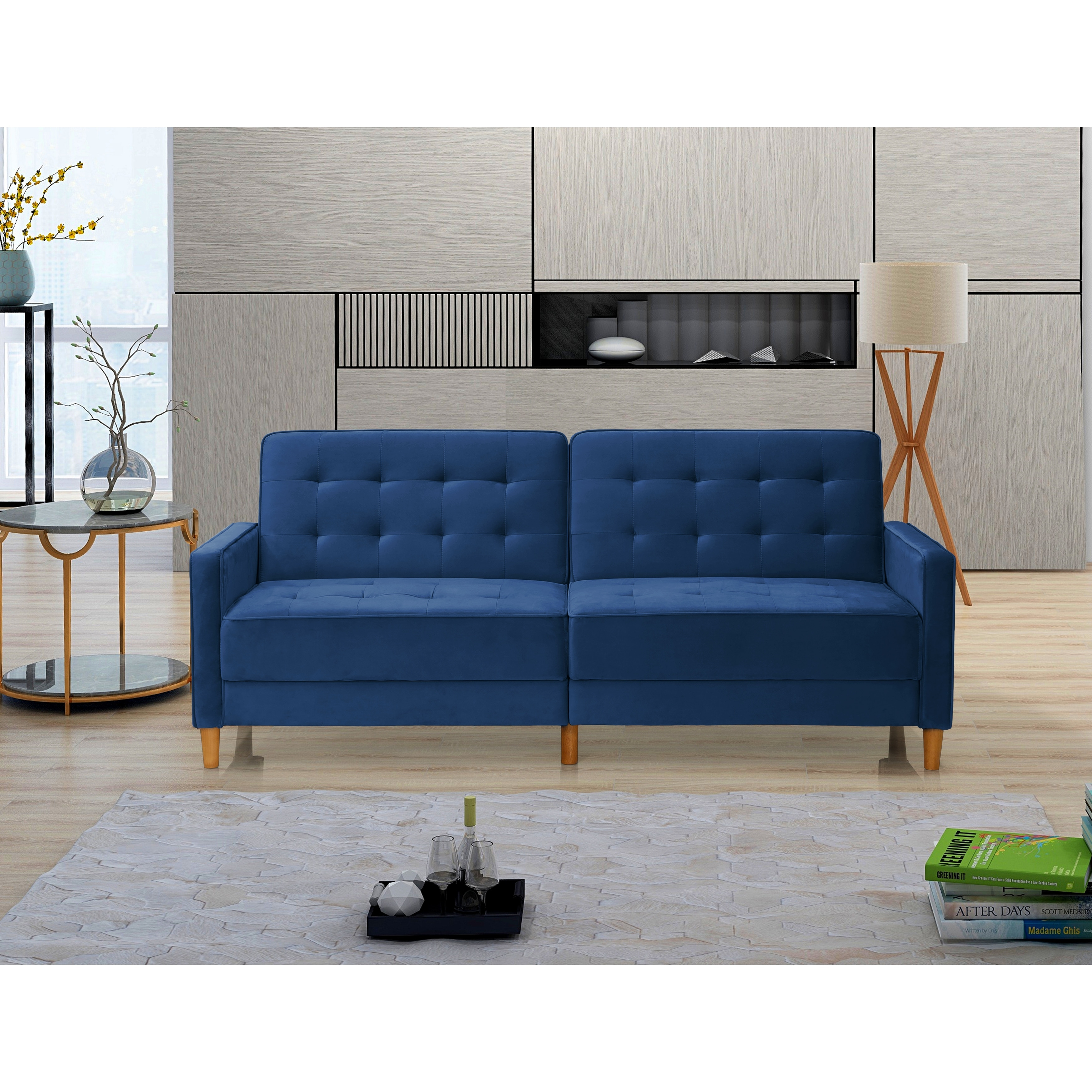 Modern Velvet Upholstered Sofa Bed With Square Arms Overstock 32486880