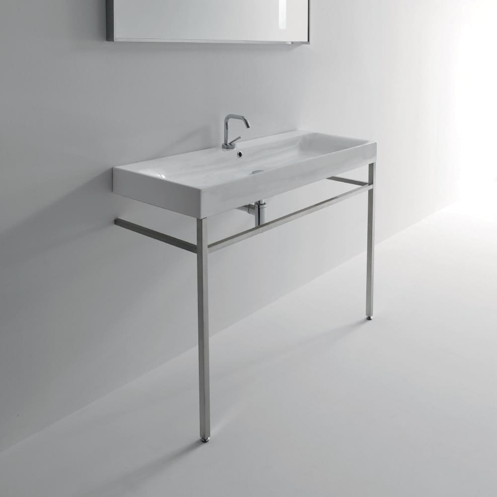 Shop ws bath collections 3534 9123k1 47 1 4 ceramic free standing bathroom console with 1 hole drilled white matte nickel free shipping today