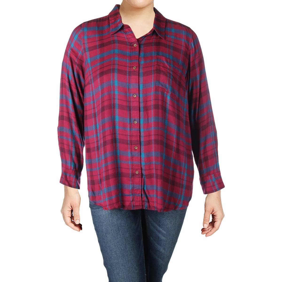 078fd941da3 Shop Lucky Brand Womens Plus Bungalow Button-Down Top Plaid Long Sleeves -  Free Shipping On Orders Over  45 - Overstock.com - 17008551