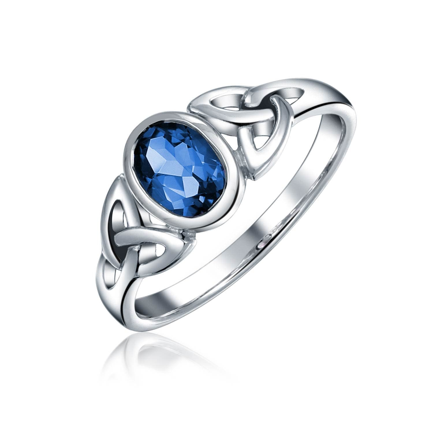 a4e53fd097222 Triquetra Celtic Friendship Promise Ring For Women Oval Shape Bezel Blue  Imitation Sapphire Glass .925 Sterling Silver