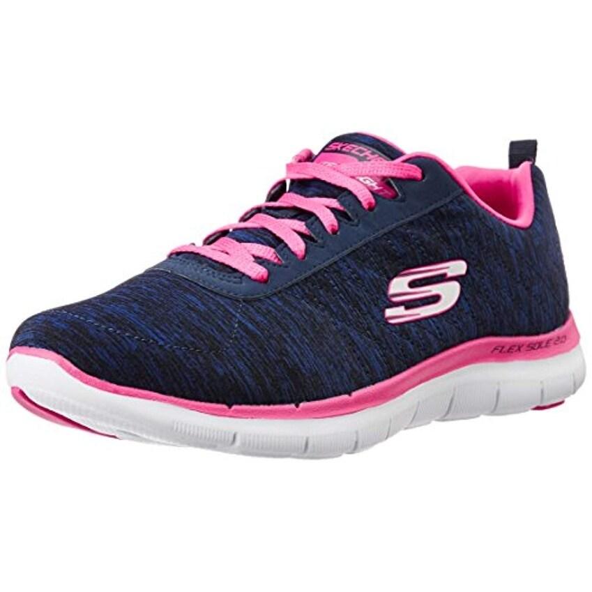 Skechers Sport Women's Flex Appeal 2.0 Fashion Sneaker, Navy Pink, 9 M Us