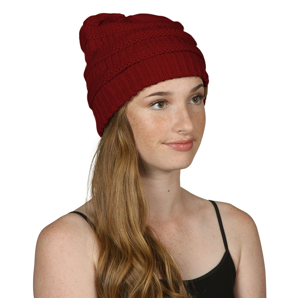 54470d6e5bf266 Shop Trendy Warm CC Chunky Soft Stretch Cable Knit Soft Beanie Skully, Wine  - Free Shipping On Orders Over $45 - Overstock.com - 17018381