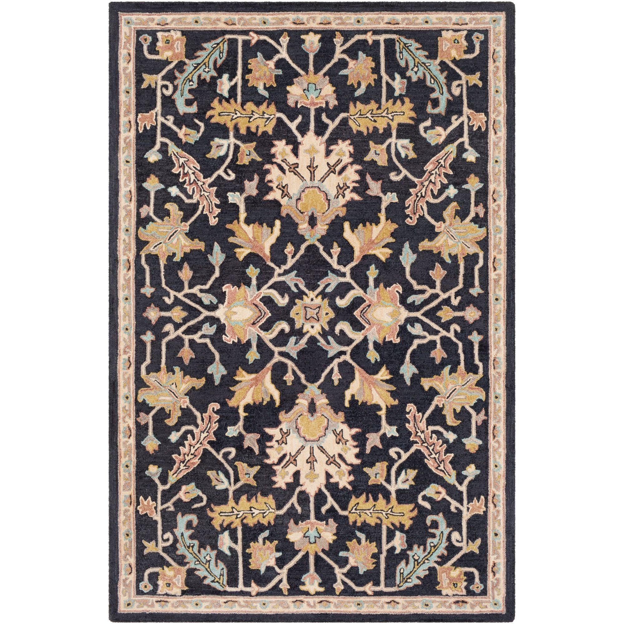 2 X 3 Oriental Black And Beige Rectangular Area Throw Rug N A