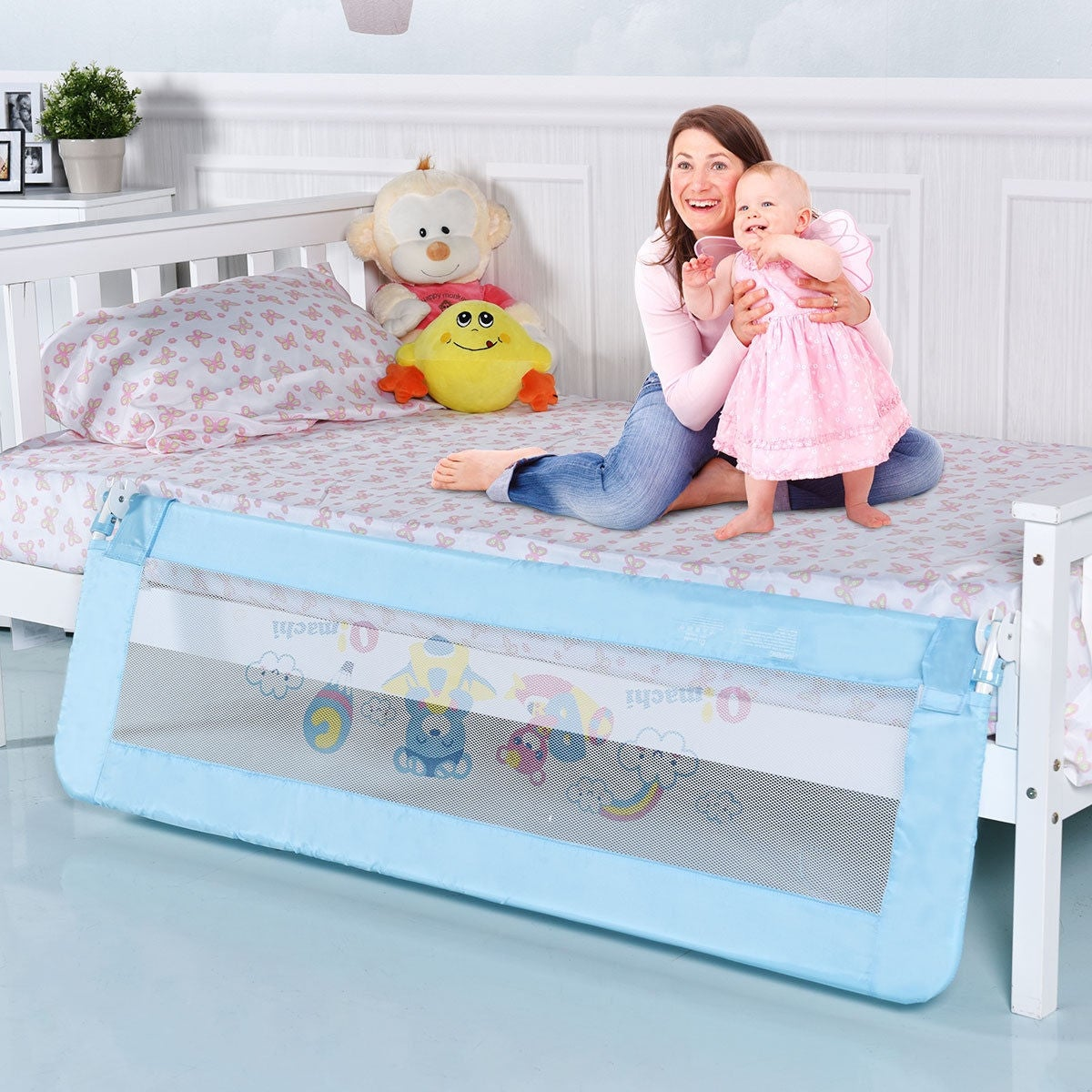 Shop Gymax 59 Breathable Baby Children Toddlers Bed Rail Guard Summer Infant Double Blue Safety Swing Down Foamed On Sale Free Shipping Orders Over 45