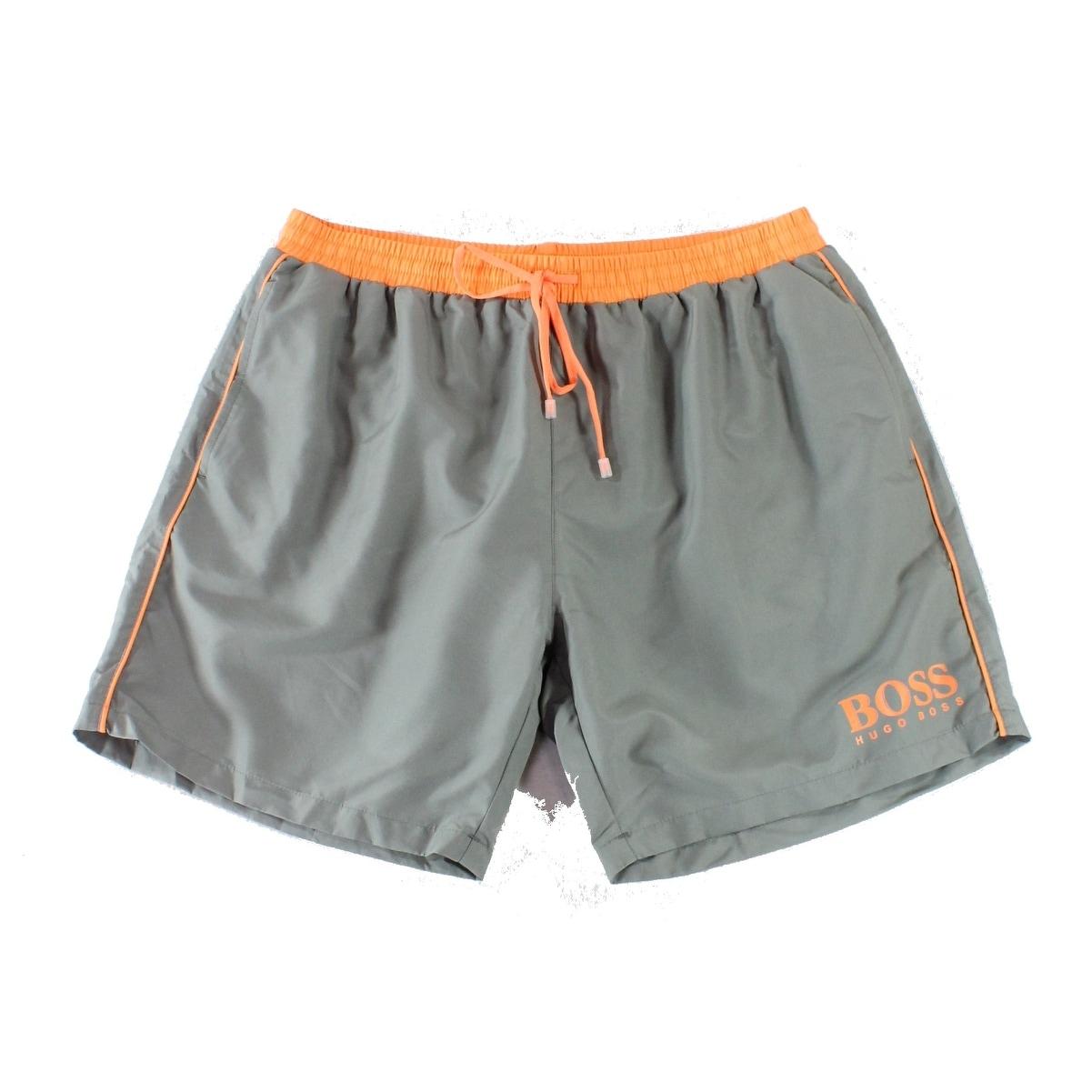 7aff75a6e Shop Hugo Boss Gray Orange Mens Size XL Board Shorts Drawstring Swimwear -  Ships To Canada - Overstock - 26911853