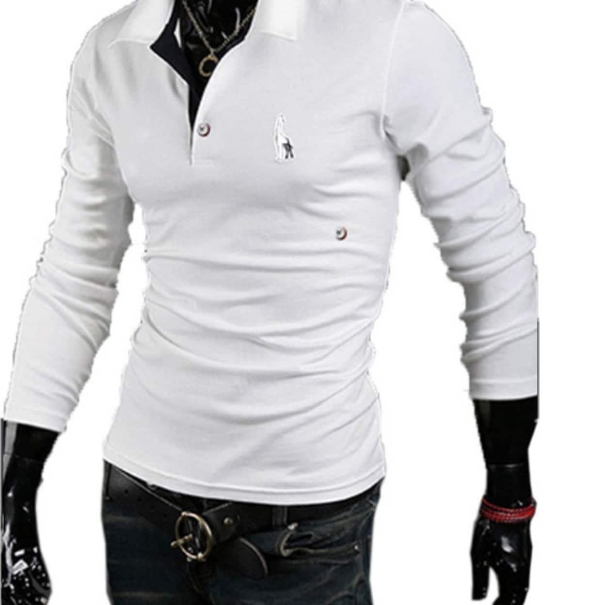 dd7e6a72088 Mens Casual Tops Tee V Neck Polo Shirts Slim Fit Short Sleeve M-2XL