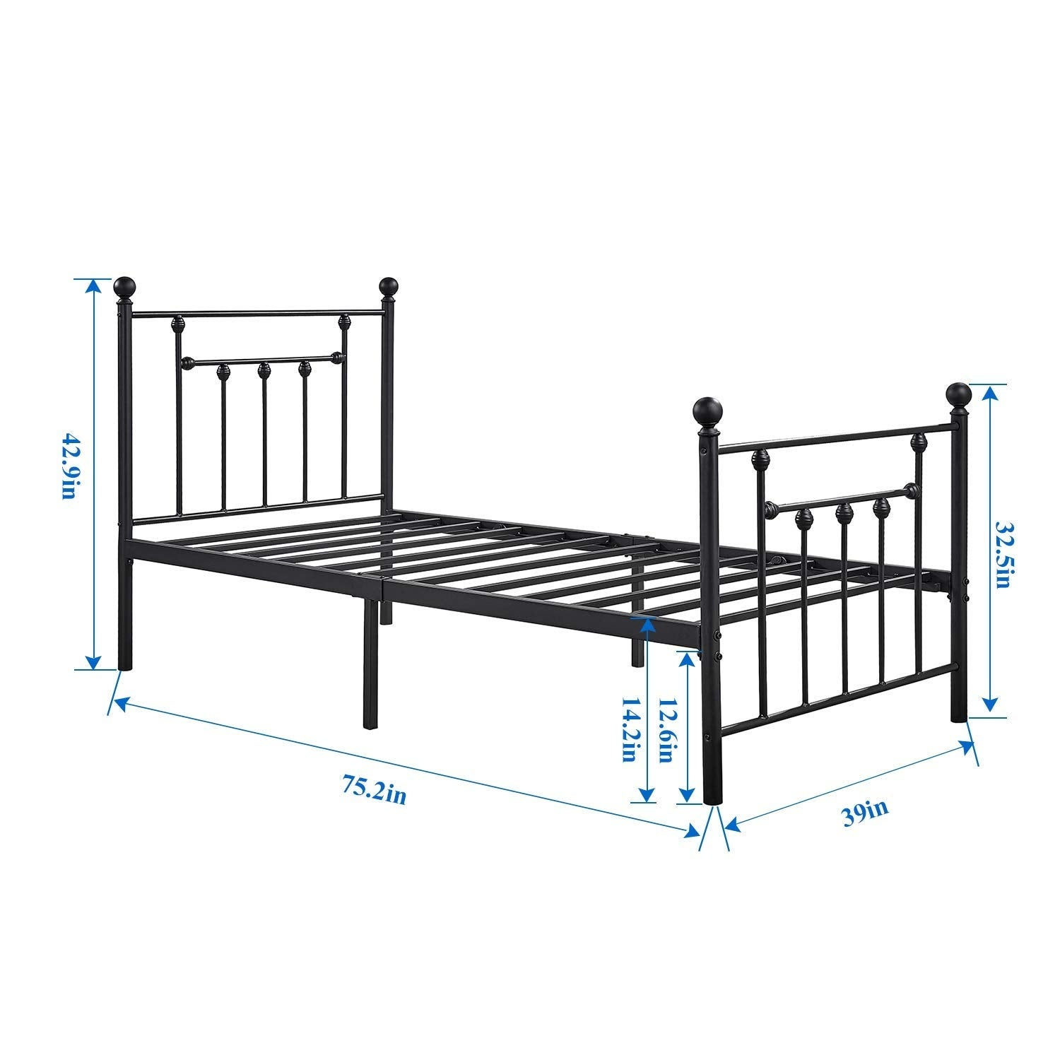 Shop VECELO Bed Frames Victorian Metal Platform Beds ,Box Spring ...