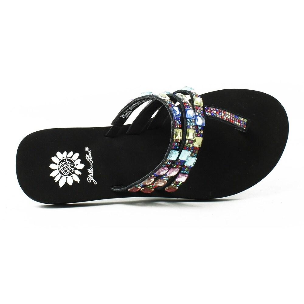 649f5da9e6bd Shop Yellow Box Womens 26018-979 BlackMulti Flip Flops Size 5.5 (AA ...