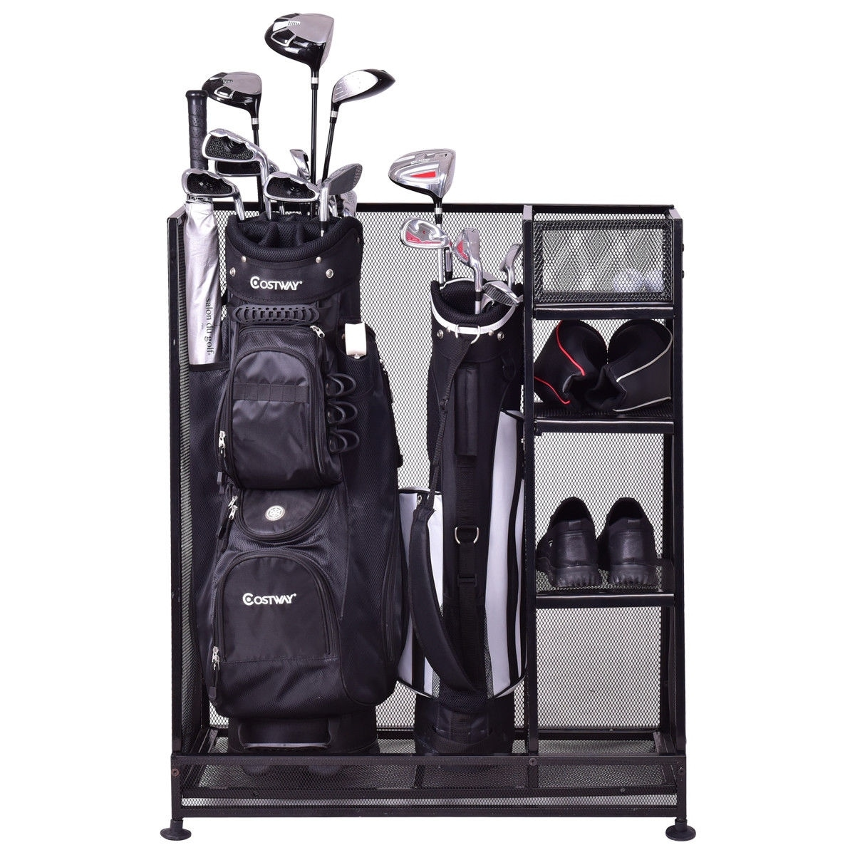 Goplus Dual Golf Organizer Storage Rack Fit 1 2 Bags Clubs Accessories Black On Free Shipping Today 19587421
