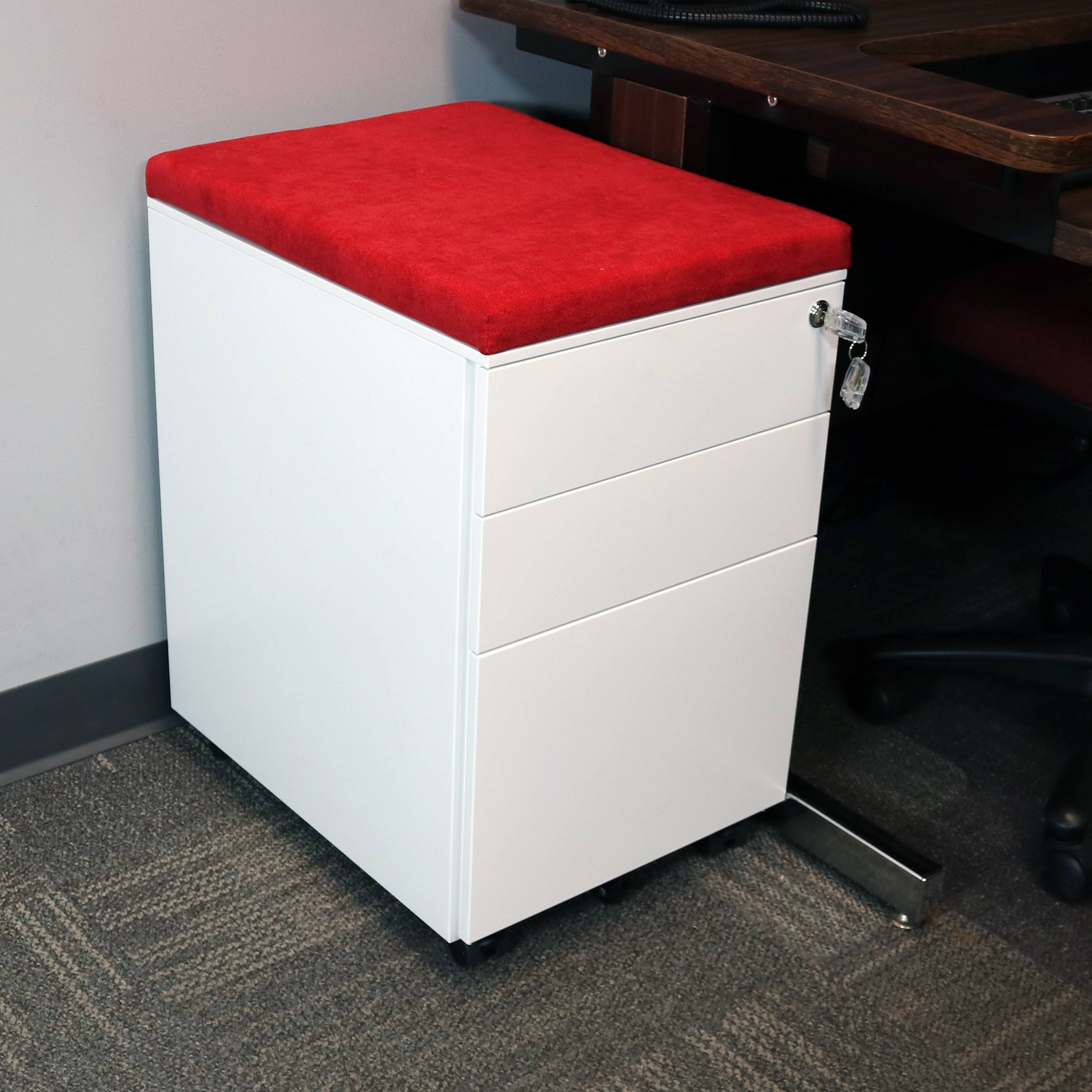Casl Brands Rolling File Cabinet Lock And Cushion White With Red