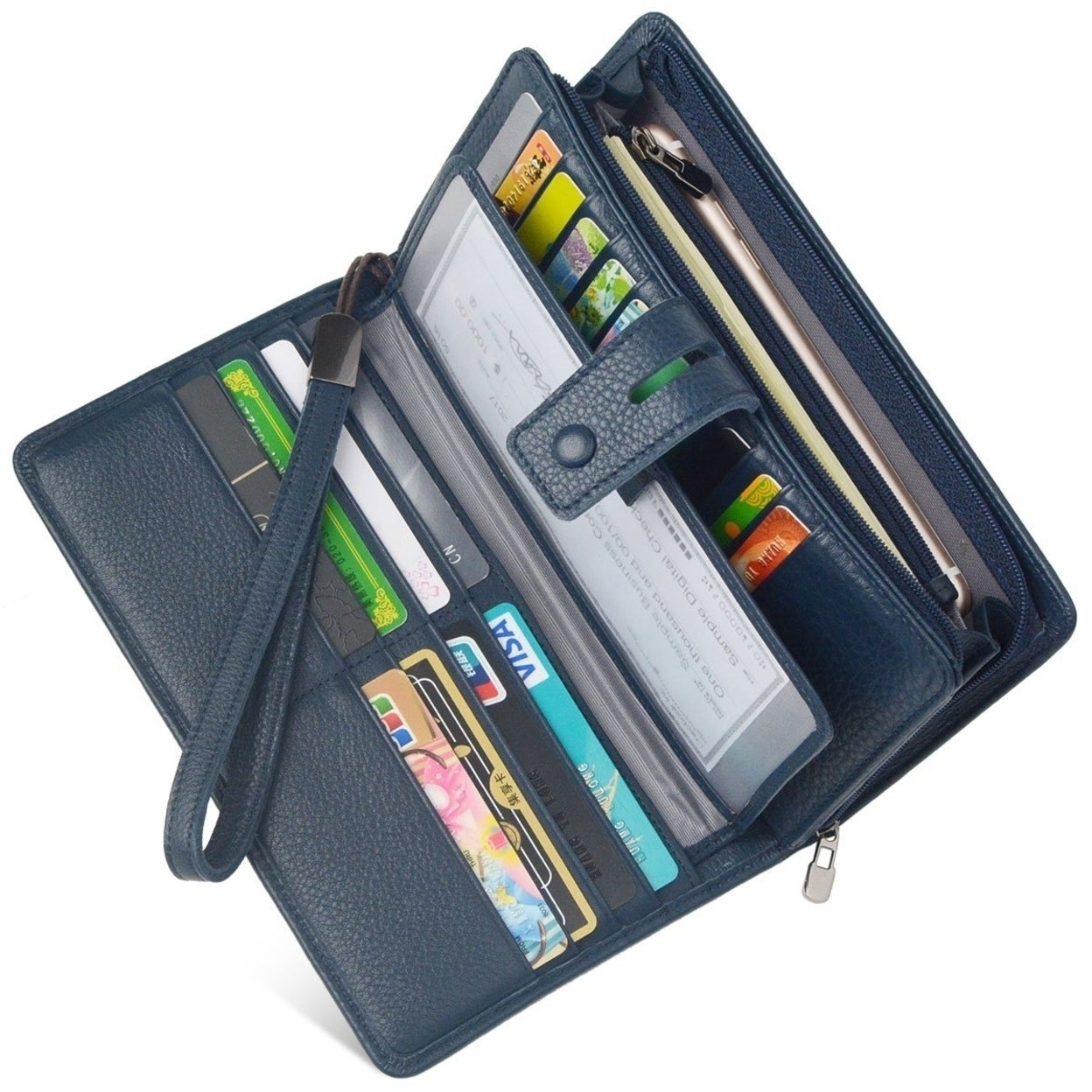 1aa492ef44 Shop Women's RFID Leather Clutch Wallet Checkbook Holder - Free Shipping  Today - Overstock - 23119496
