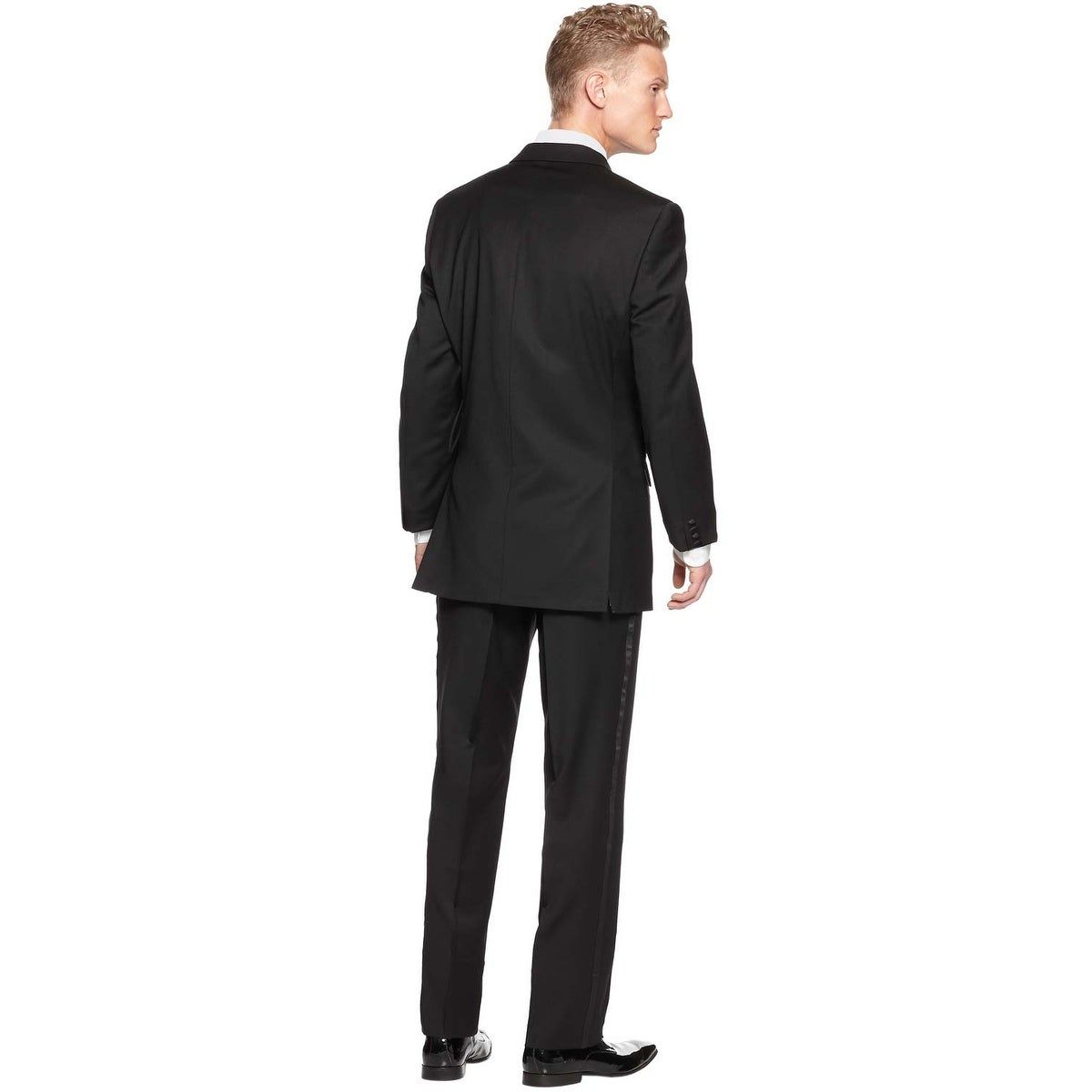 1f881a541e09 Shop Calvin Klein Slim Fit Tuxedo 42 Regular 42R Black Wool Flat Front  Pants 36W Myer - Free Shipping Today - Overstock - 20753721