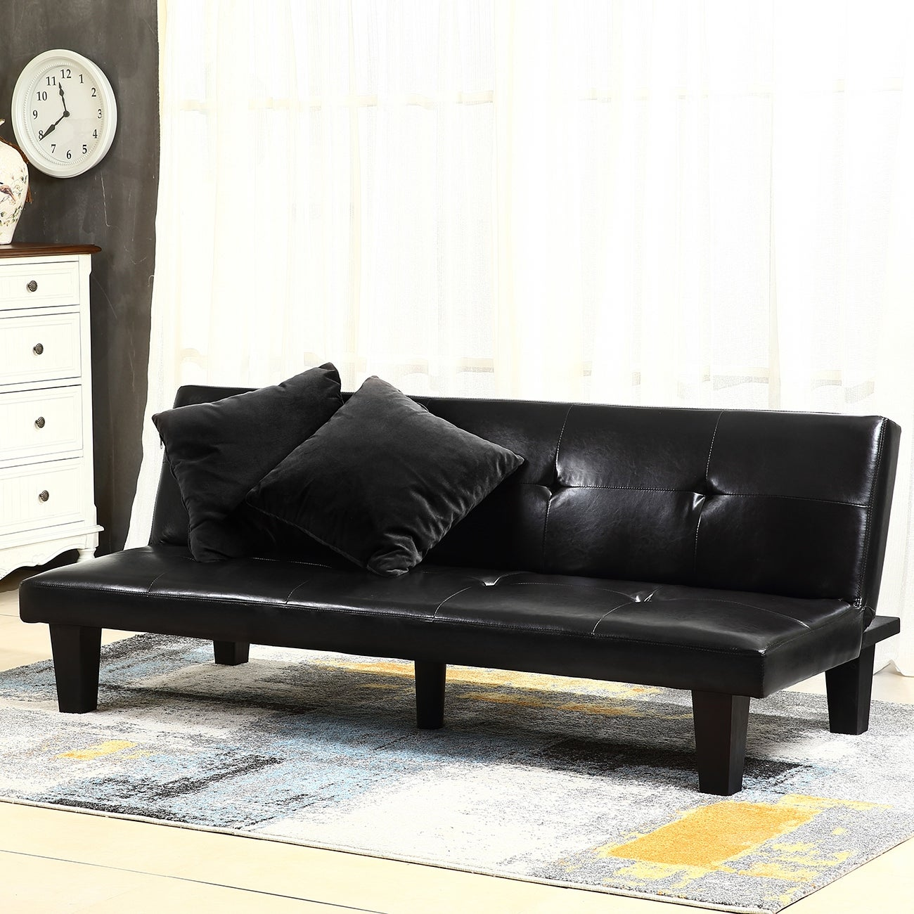 Belleze Convertible Futon Folding Sofa Bed Couch Sleep Adjule Recliner Lounger Vanilla Black And Brown Free Shipping Today Com