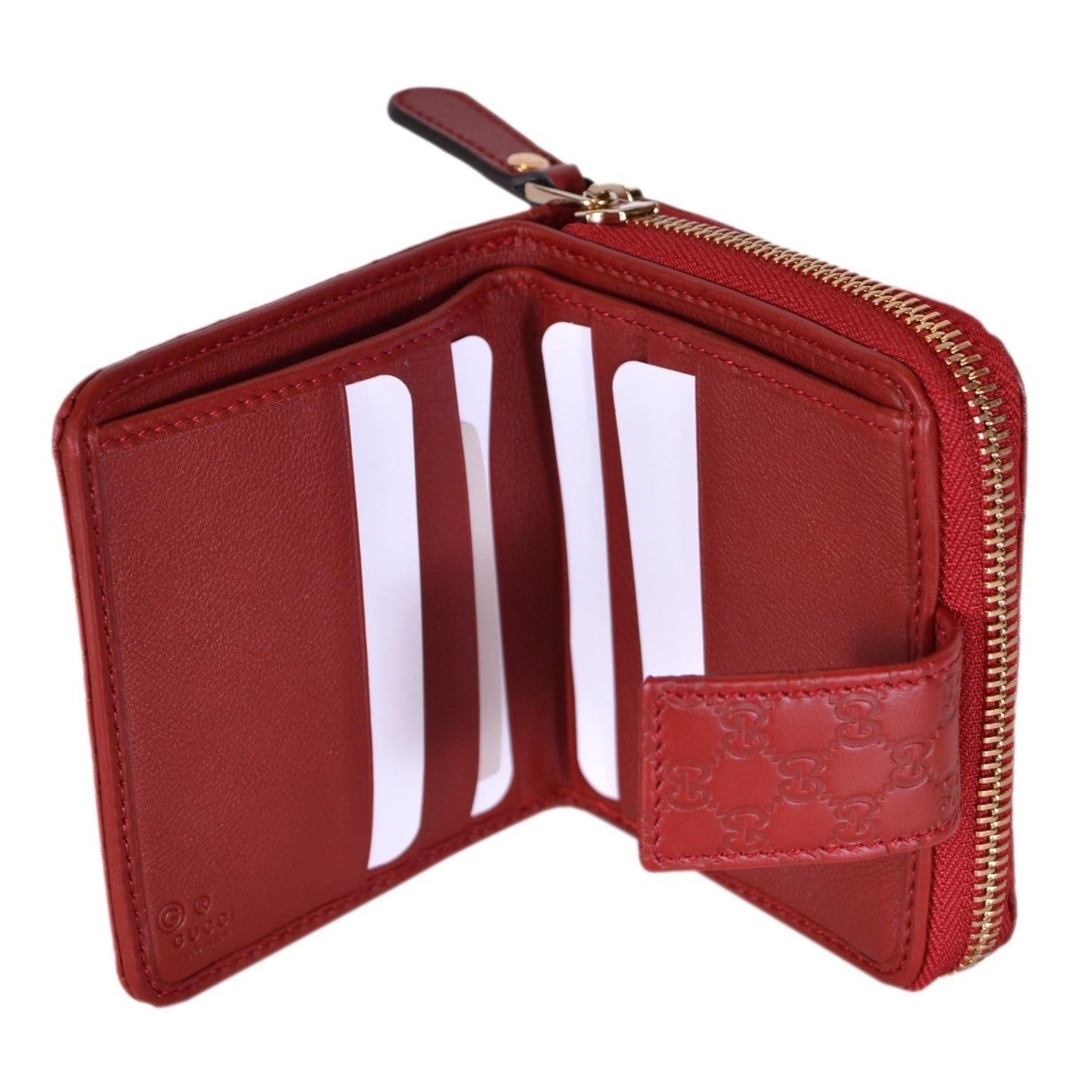 ab34e4f3ce6a Shop Gucci Women's 449395 Red Leather Micro GG Guccissima French Wallet -  4.25